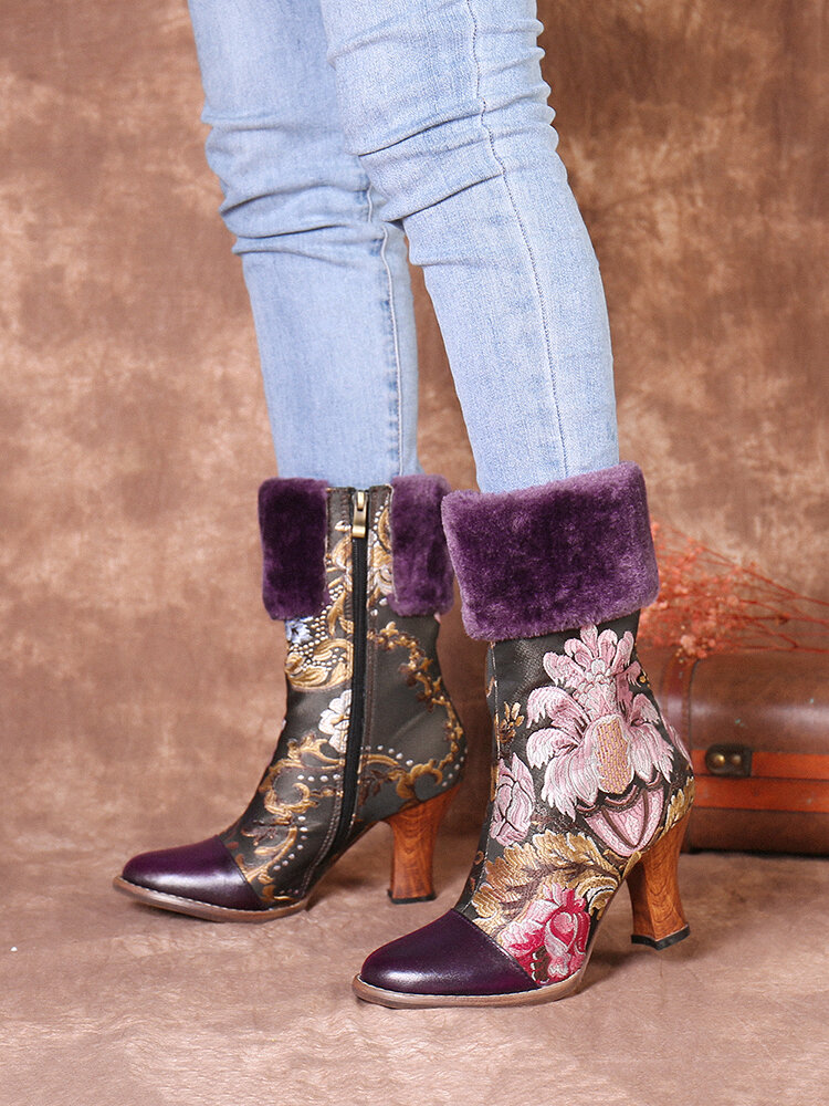 SOCOFY Flower Embroidery Genuine Leather Warm Lining Splicing Low Heel Short Boots