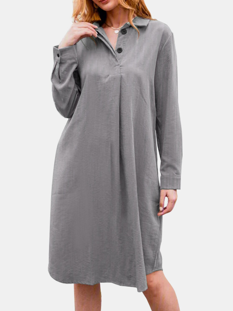 Casual Solid Color A-Line Long Sleeve Cotton Shirt Dress