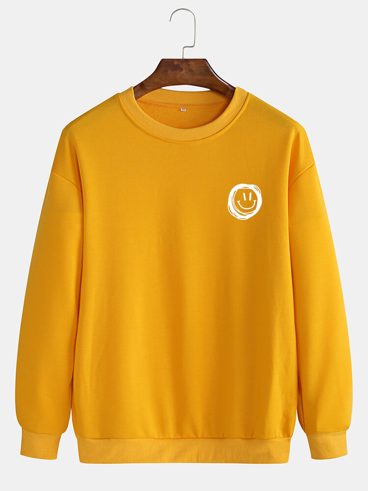 Mens Cotton Daily Relaxed Fit Crew Neck Solid Color Sweatshirts With Smile Pattern