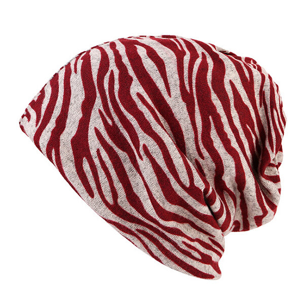 Women Cotton Zebra Pattern Warm Hip-Hop Beanies Hat Outdoor Windproof Dual-use Scarf Pile Cap