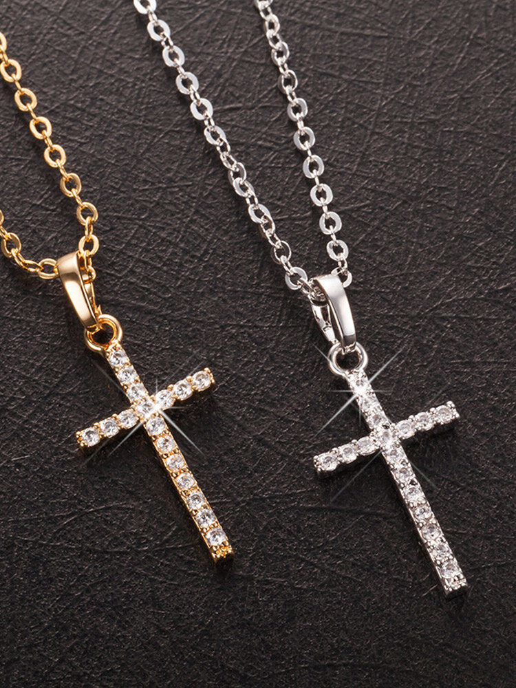 Cross-shaped Inlaid Zircon Necklace, Gold;silver