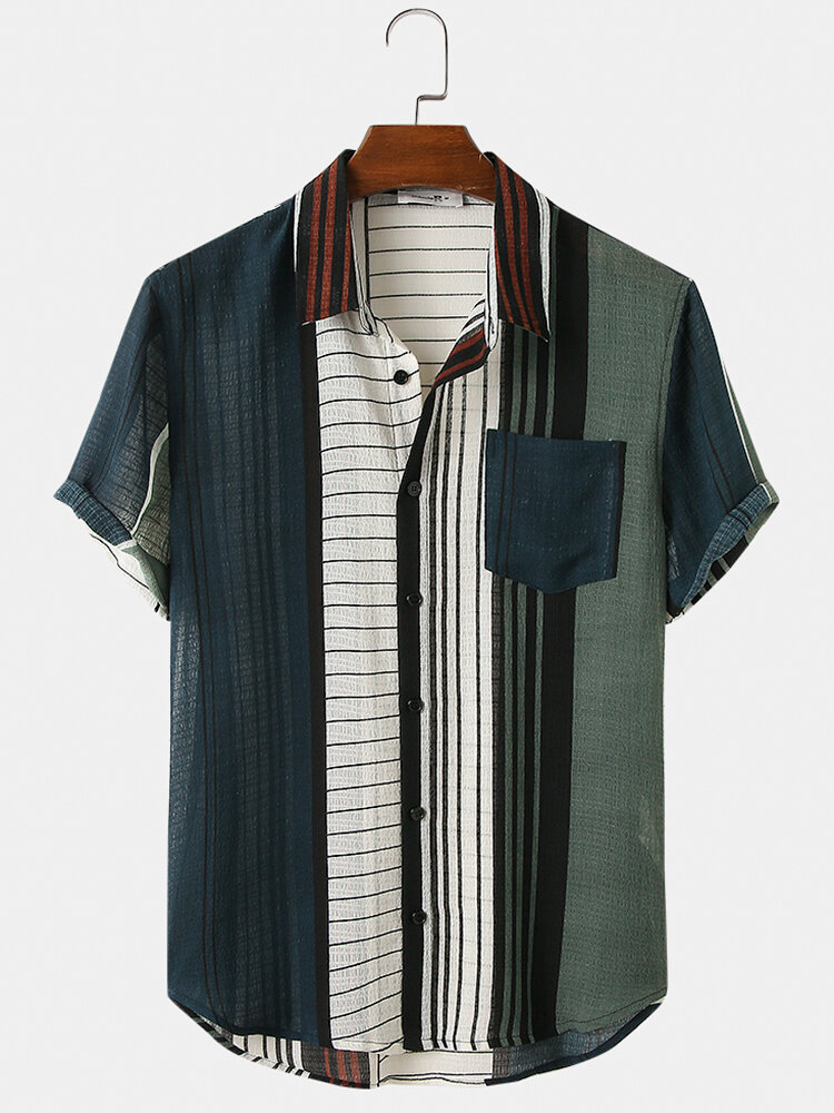 Mens Vintage Style Stripes Print Light Casual Short Sleeve Shirts