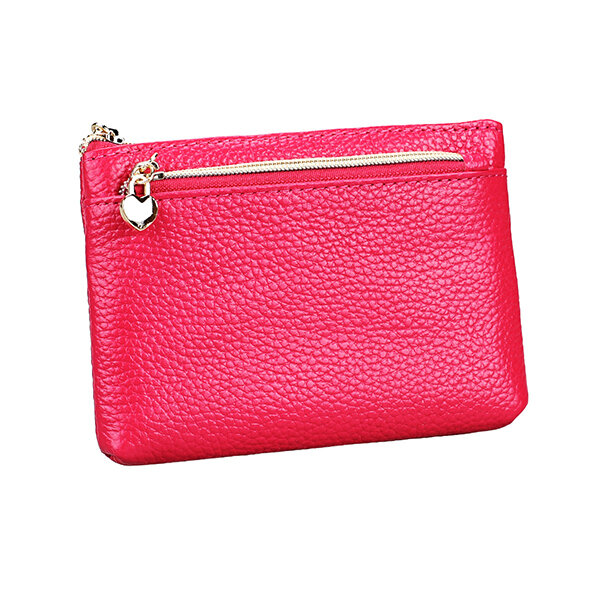 Genuine Leather Solid Slim Coin Purse Wallet Women