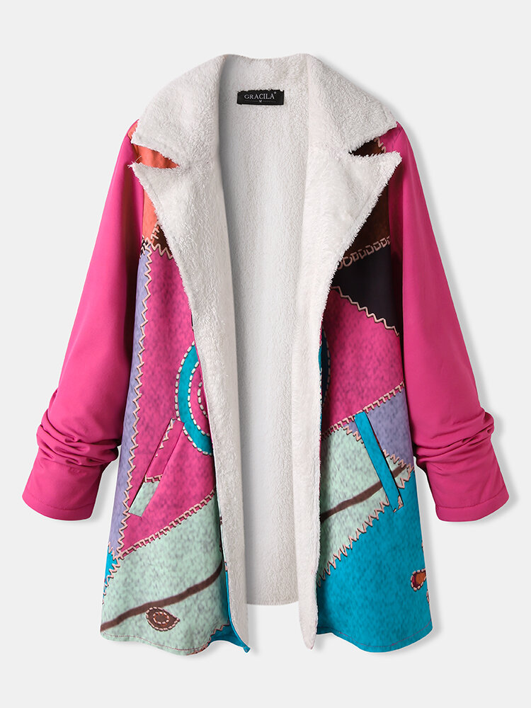 Print Lapel Long Sleeve Plus Size Fleece Jackets with Pockets