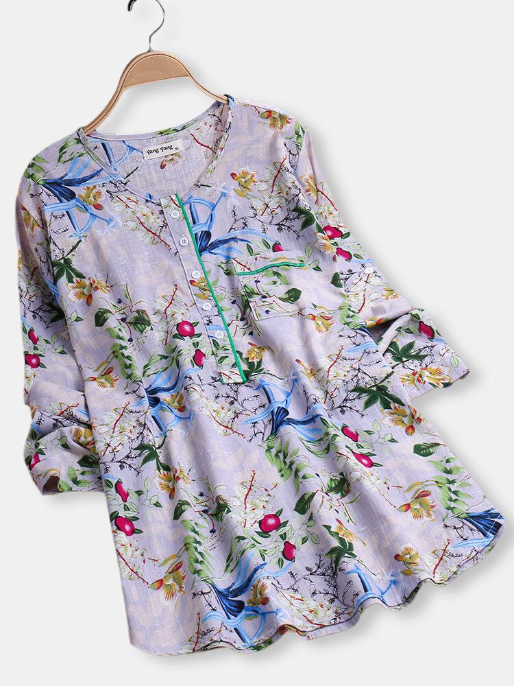 Floral_Printed_Long_Sleeve_Oneck_Button_Blouse_for_Women