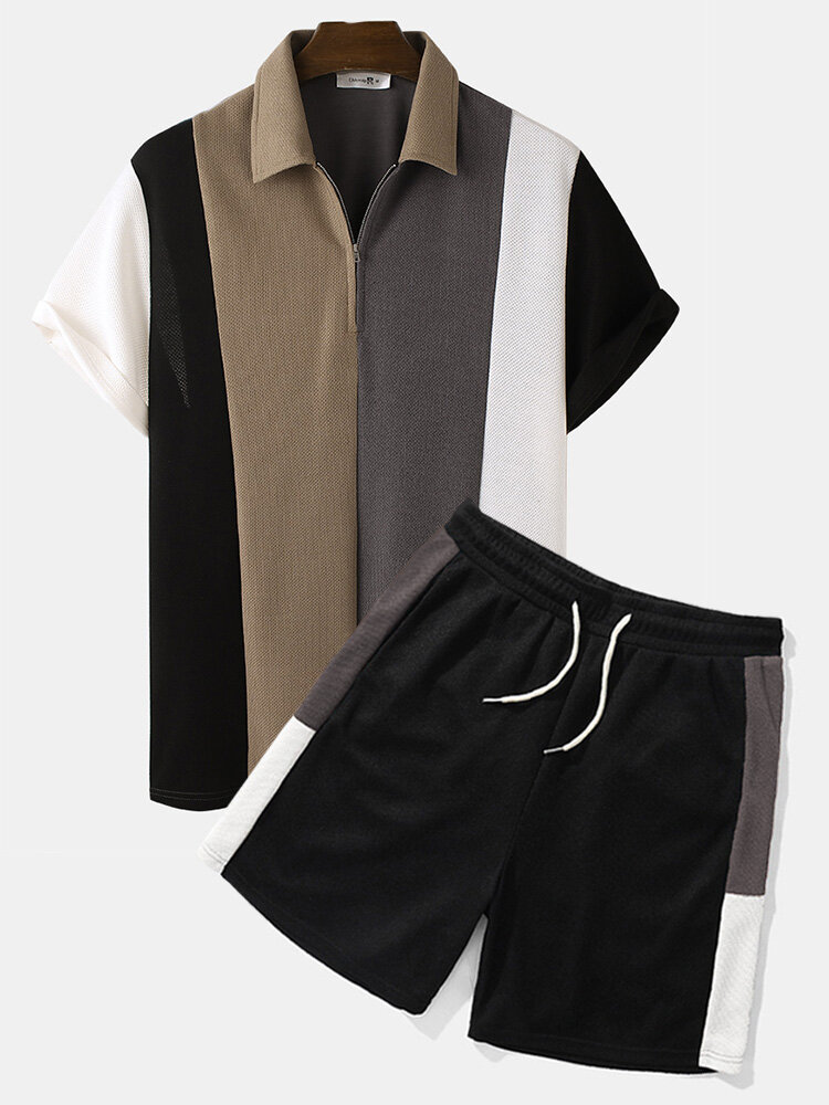 Mens Knit Wide Striped Stitching Zip Golf Shirt Casual Two Pieces Outfits