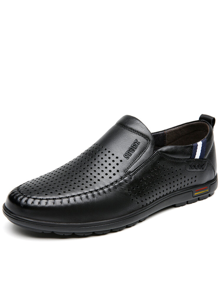Men Cow Leather Hole Breathable Slip On Soft Sole Casual Shoes