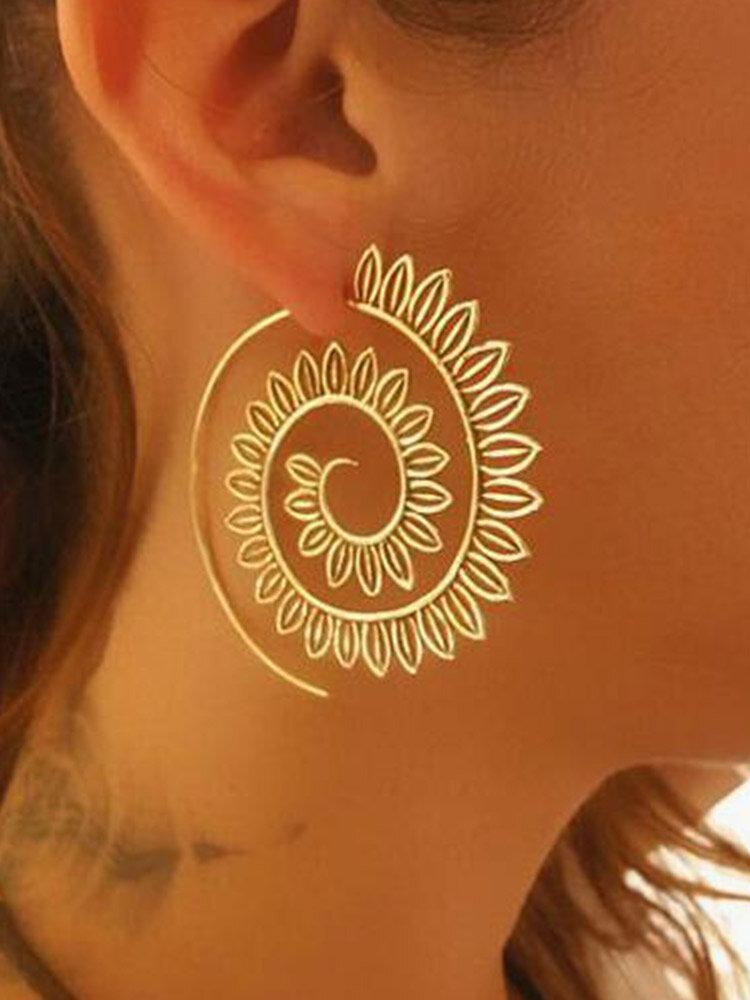 Vintage Geometric Spiral Leaves Shape Alloy Earrings