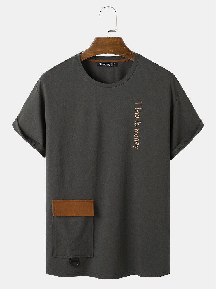 Mens Letter Embroidery Short Sleeve T-Shirt With Flap Pocket