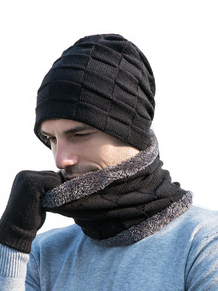 Hat Scarf Gloves Three-piece Beanie Velvet Knitted Wool Hat