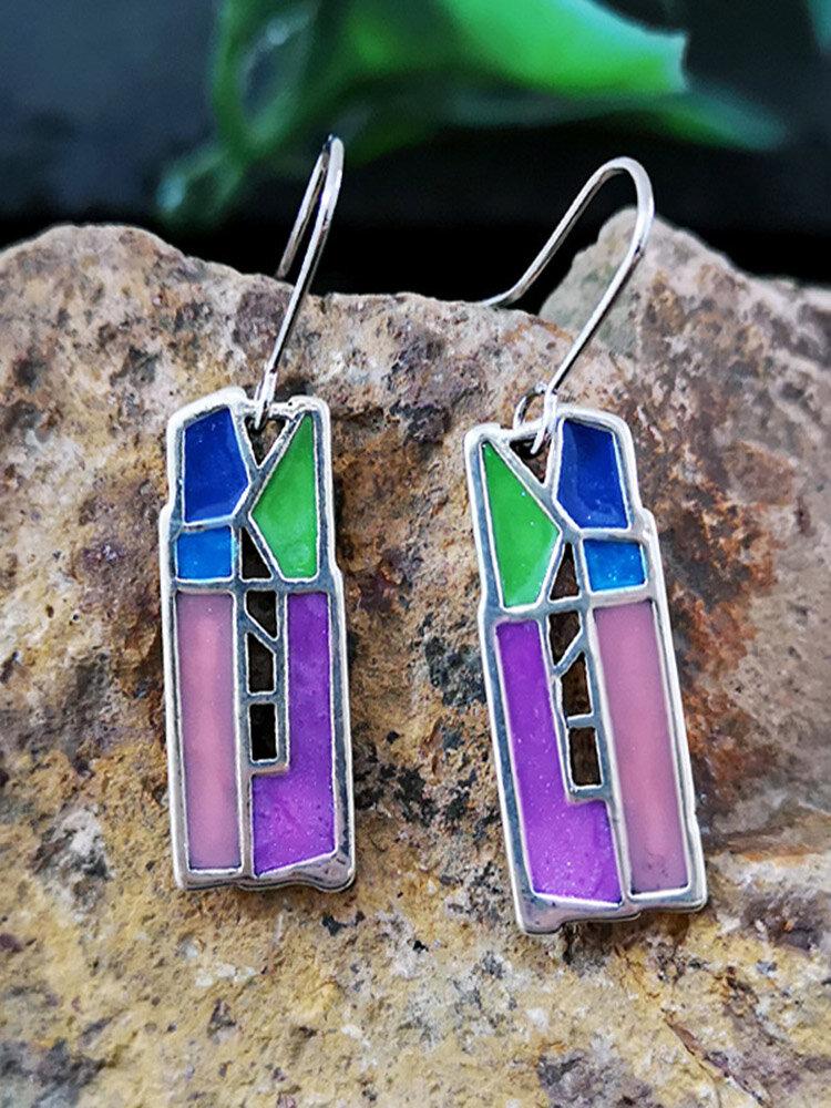 Vintage Epoxy Women Earrings Long Hollow Colored Splicing Earrings Jewelry Gift