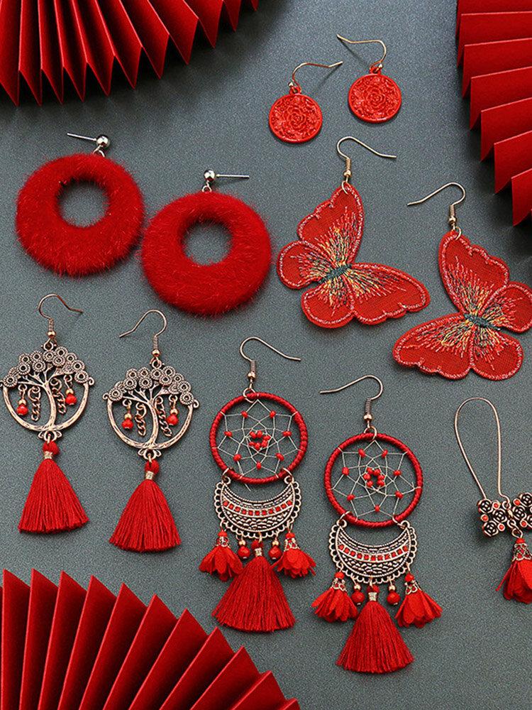 Christmas Red Flower Women Earrings Hollow Butterfly Tassel Pendant Earrings Jewelry Gift