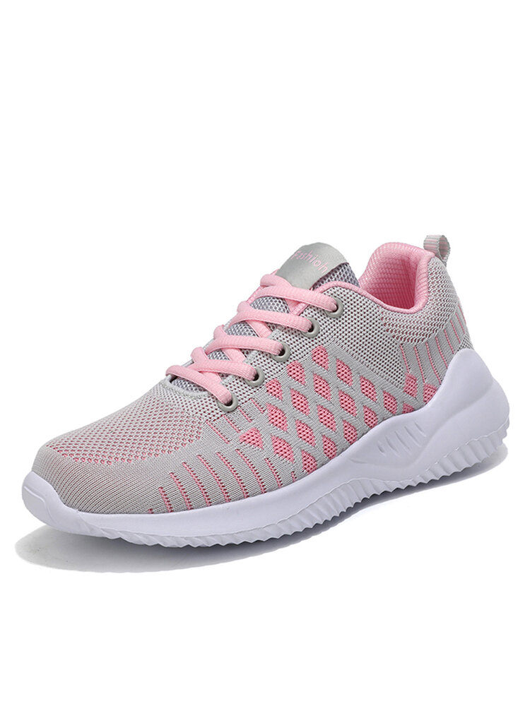 Women's Fashion Breathable Mesh Casual Walking Shoes Lace-up Sneakers