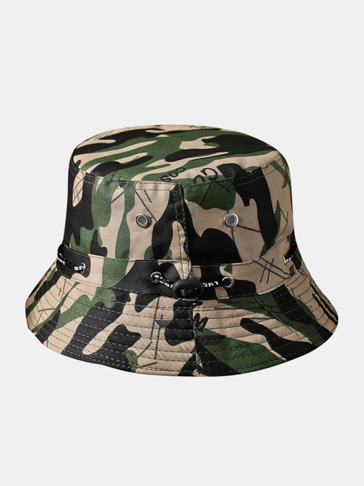 Unisex Cotton Camouflage Solid Climbing Outdoor Sunshade Adjustable Bucket Hat