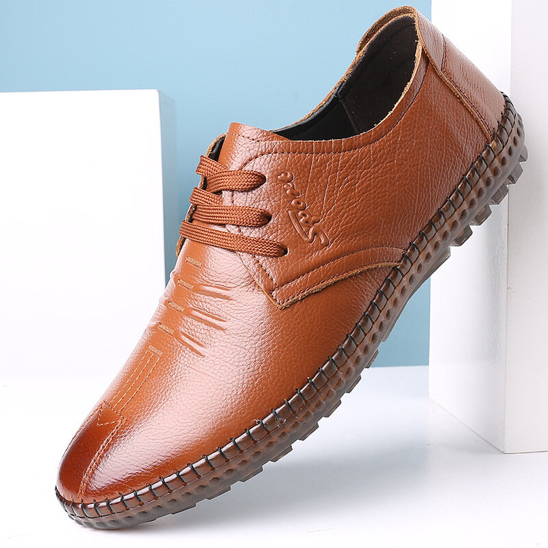 Men Hand Stitching Business Casual Cow Leather Shoes
