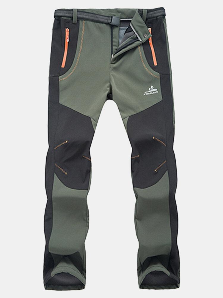 Mens Outdoor Sport Pants Elastic Waist Soft Shell Warm Fleece Lining Waterproof Quick-Dry Trousers
