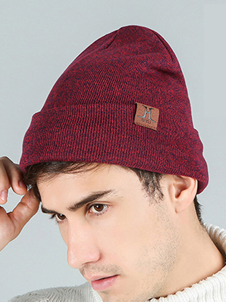Men & Women Plus Thicken Warm Ear Protection Flanging Leather Label Decoration Knitted Hat Brimless Beanie