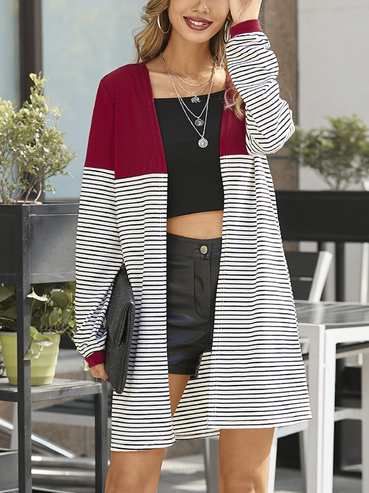 Striped Patchwork Long Sleeve Casual Cardigan For Women