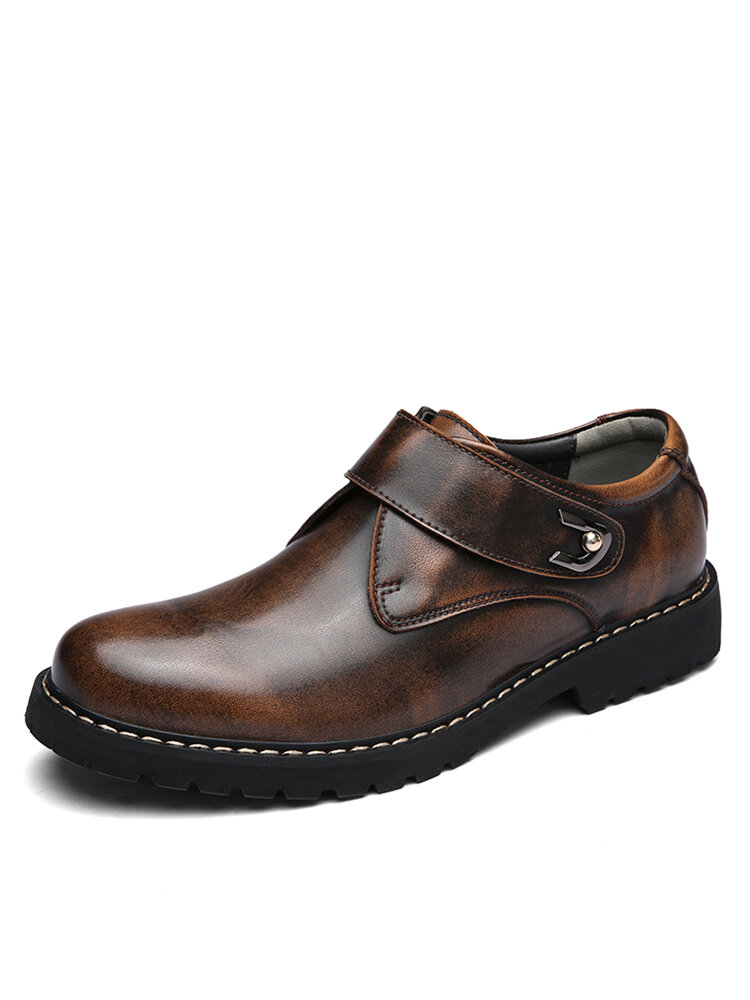 Men British Style Handmade Cowhide Leather Comfy Wearable Business Casual Shoes