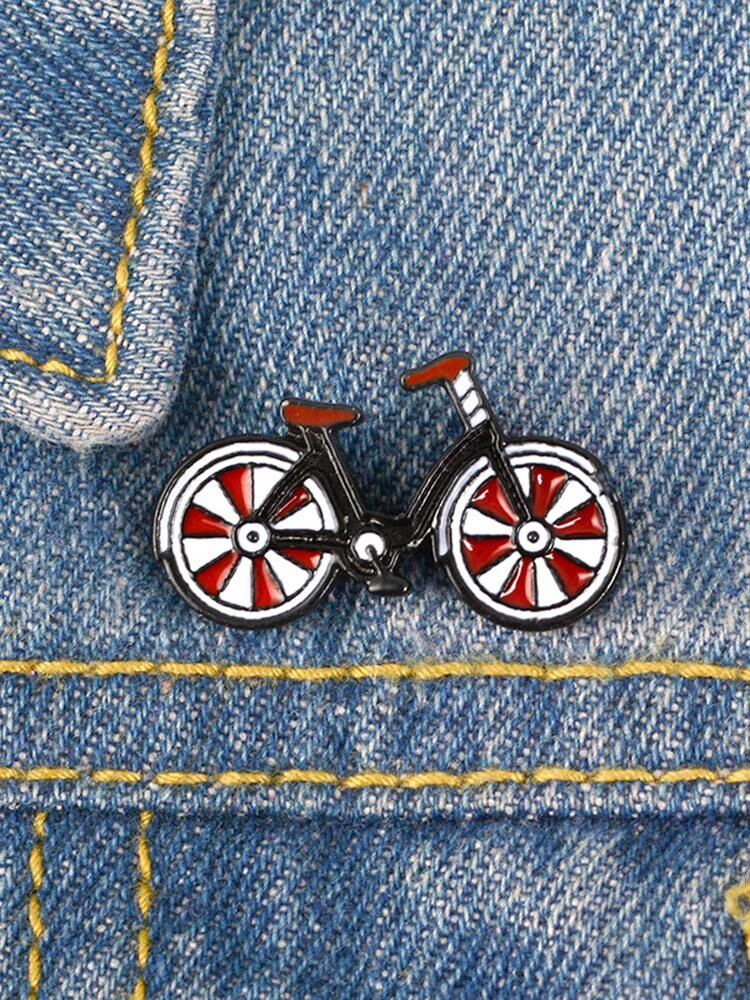 Red Hat Bicycle Brooch Vintage Cyclists Badges Sports Lapel Pins Biking Jewelry Biker Gift