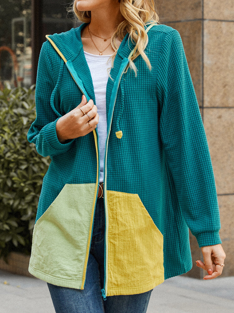 Contrast Color Textured Knitted Long Sleeve Jackets for Women