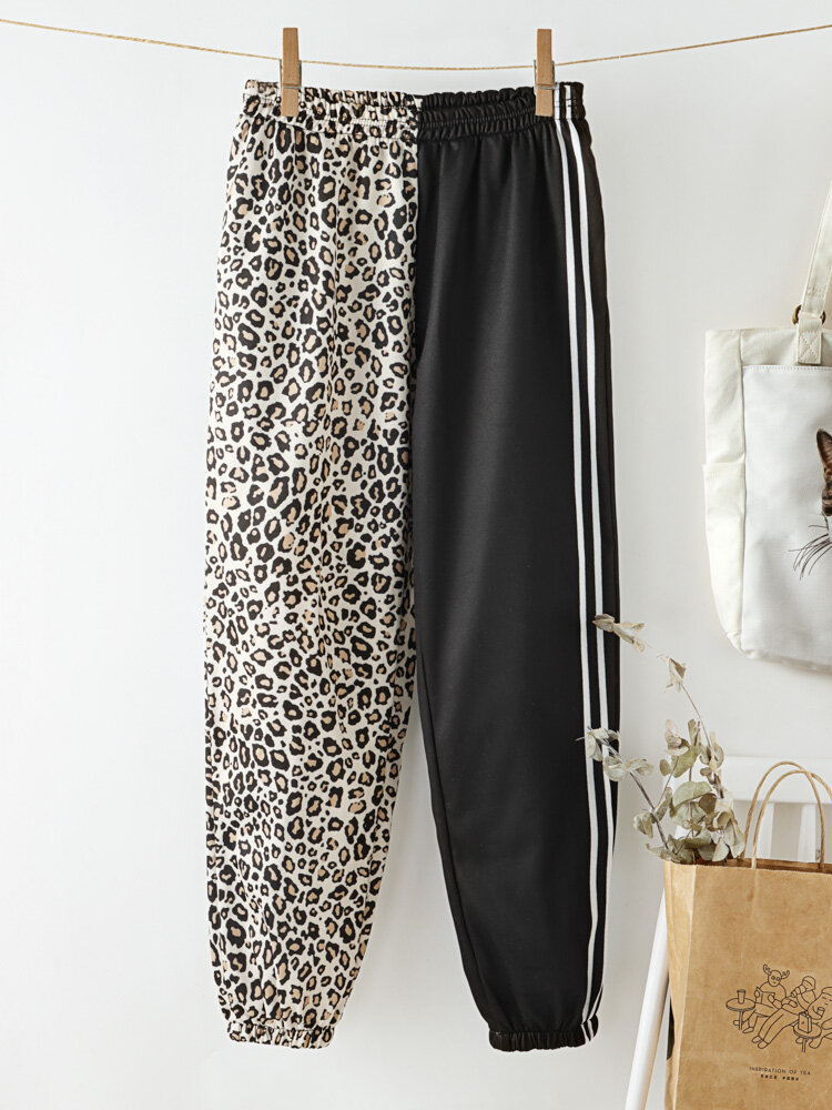 Leopard Striped Print High Waist Casual Pants With Pocket For Women