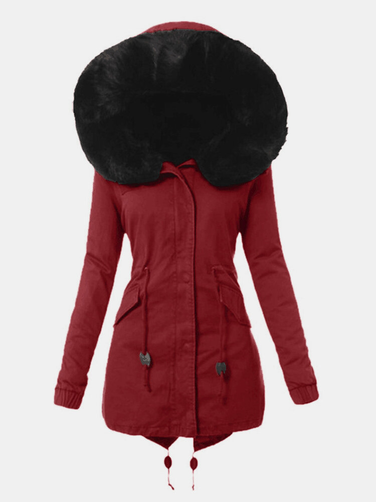 Women Solid Color Patchwork Button Knotted Hooded Casual Coat