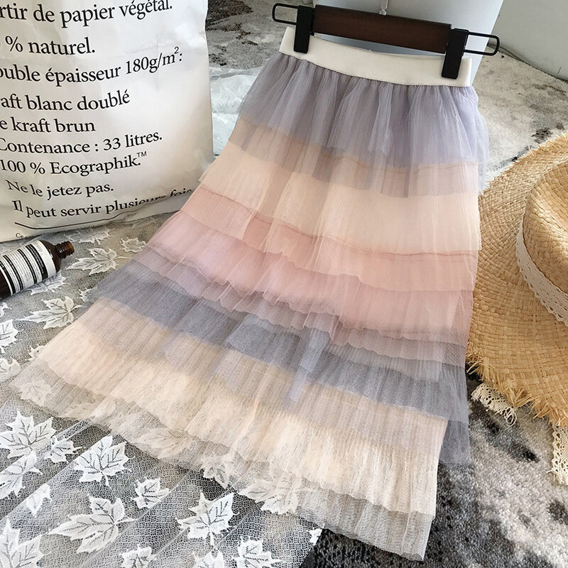 Gradient Color Girls Kids Casual Layered Long Skirt For 3Y-11Y