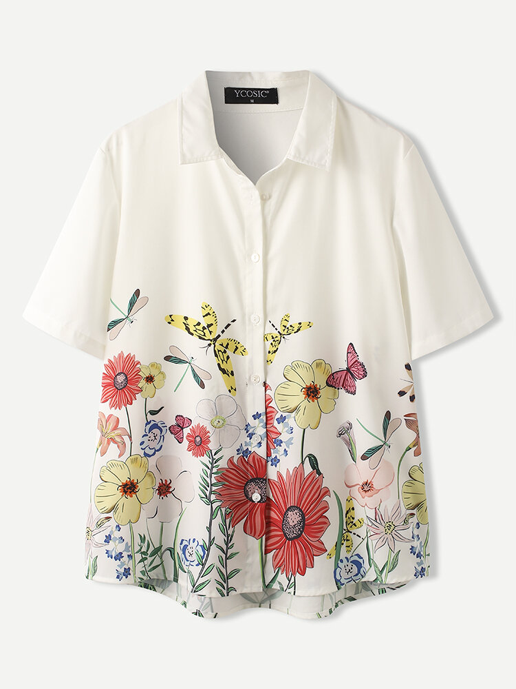 Chemise décontractée à manches courtes et revers imprimé fleurs