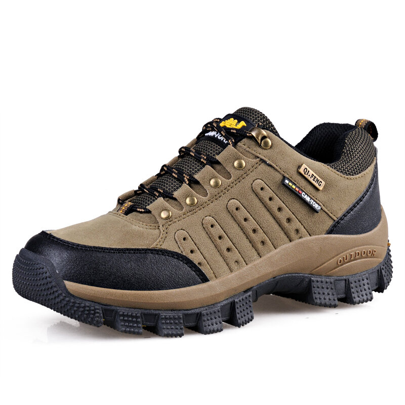 Large Size Men Outdoor Silp Resistant Lace Up Hiking Sneakers
