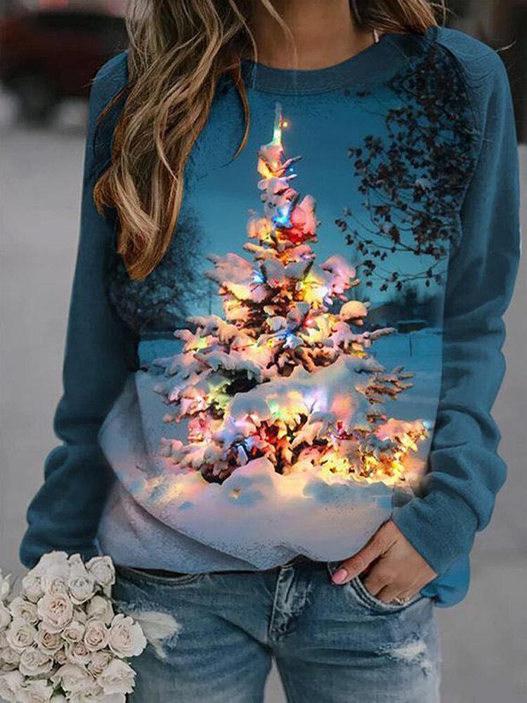 Повседневная толстовка с круглым вырезом и длинными рукавами с рождественским принтом для Женское