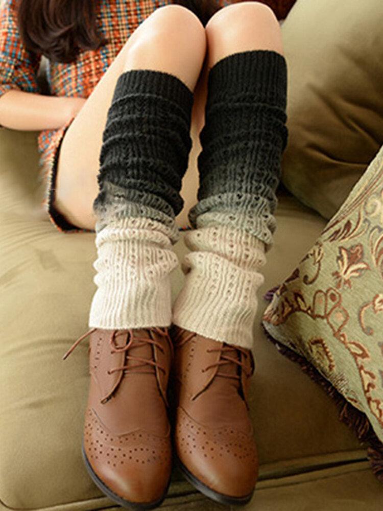 Women's Compression Socks Cashmere Gradien Warm Knitted Leggings Set Long Socks