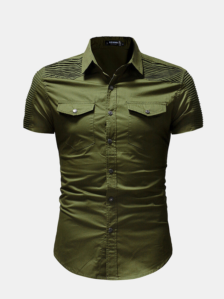 Men Casual Single Breasted Lapel Collar Shirts
