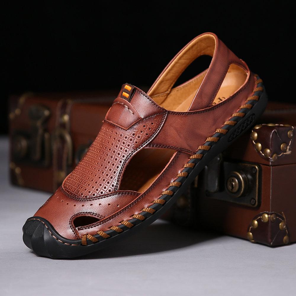 de2ef22d992bc Menico Men Hand Stitching Closed Toe Outdoor Soft Leather Sandals