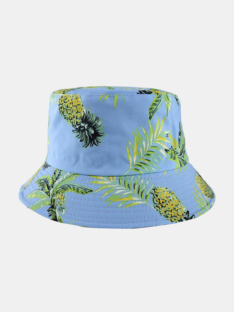 Women & Men Fruit Pineapple Pattern Double-Sided Outdoor Casual Sunshade Bucket Hat