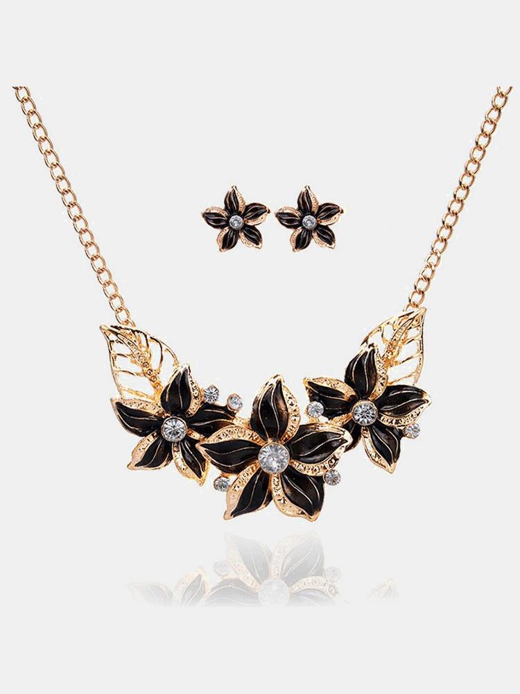 Vintage Pendant Jewelry Set Multicolor Flower Pendant Gold Leaf Chain Necklace Earrings for Women
