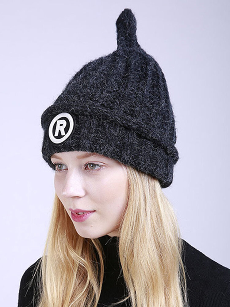 Womens Knitted Curling Twist Bar Letter R Beanie Cap Soft Winter Warm Outdoor Snow Hats