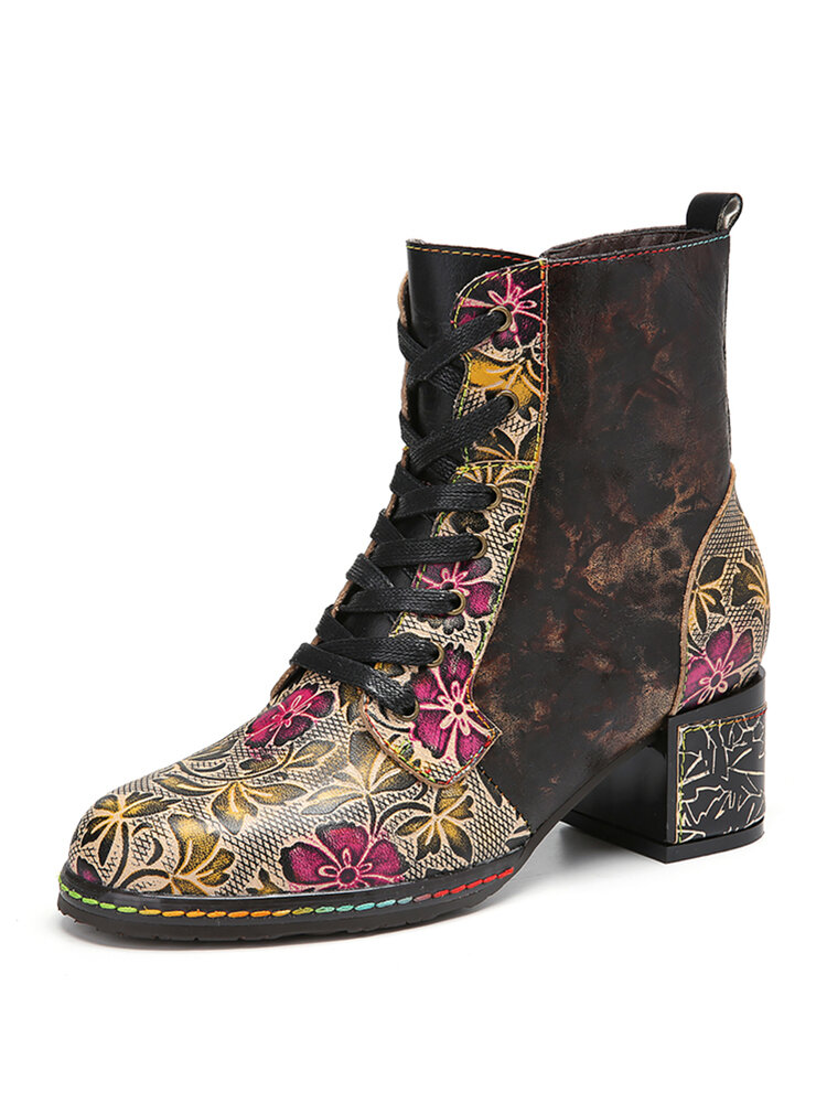SOCOFY Floral Embroidery Leather Splicing Front Lace Up Side Zipper Chunky Heel Short Boots