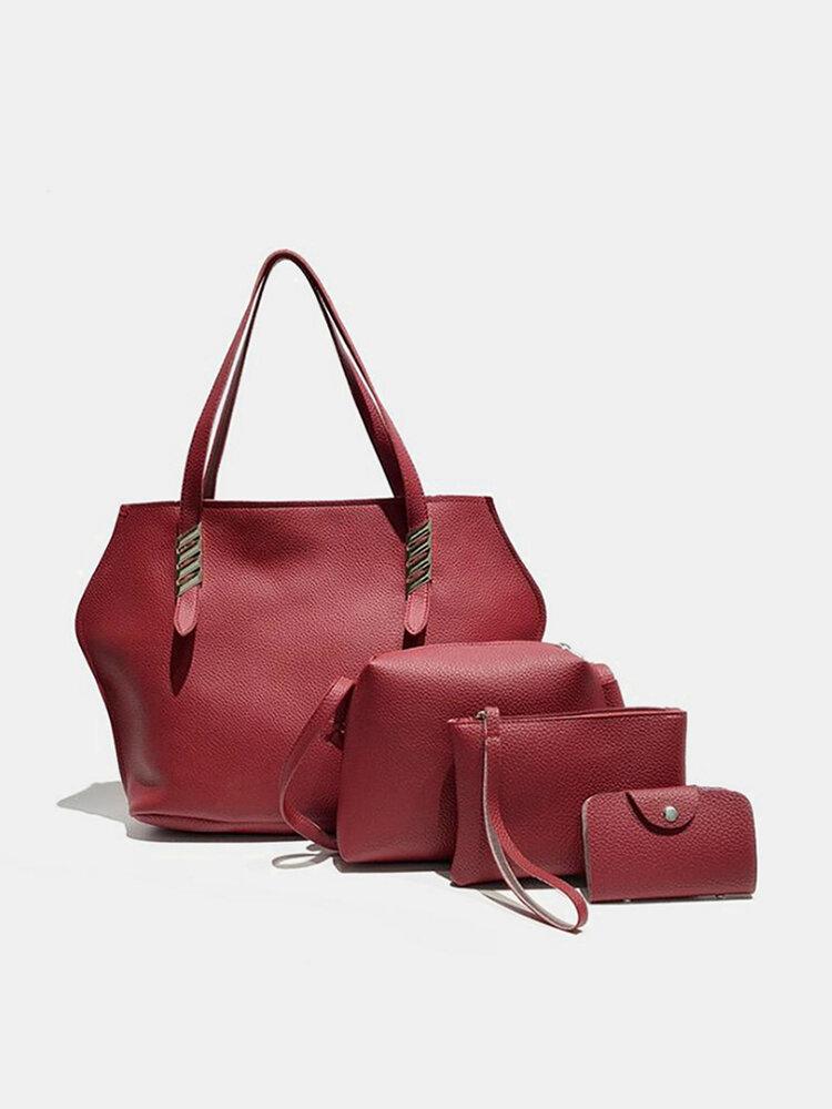 4Pcs Faux Leather Solid Leisure Handbag Shoulder Bag For Women