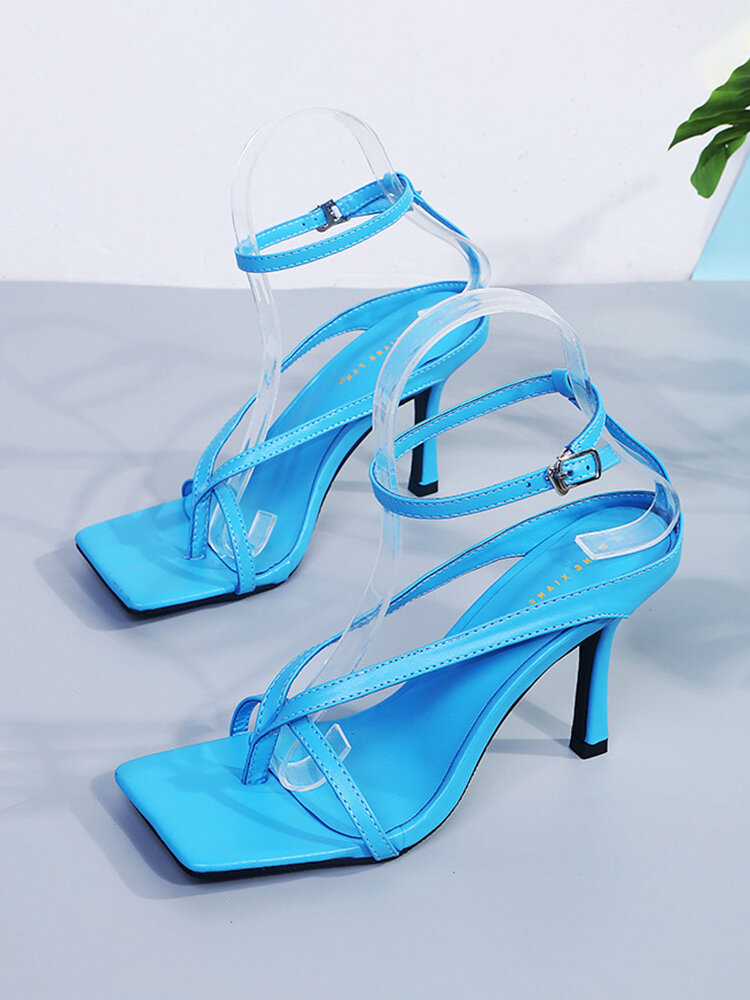 Women Fashion Square Toe Straps Toe Ring Ankle Buckle Strap High Heels Sandals