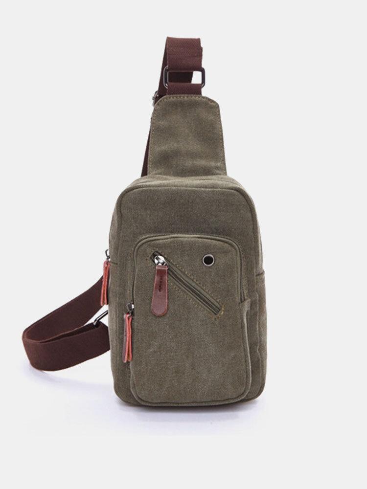 Mens Crossbody Bag Chest Pack Canvas Portable Travel Bag