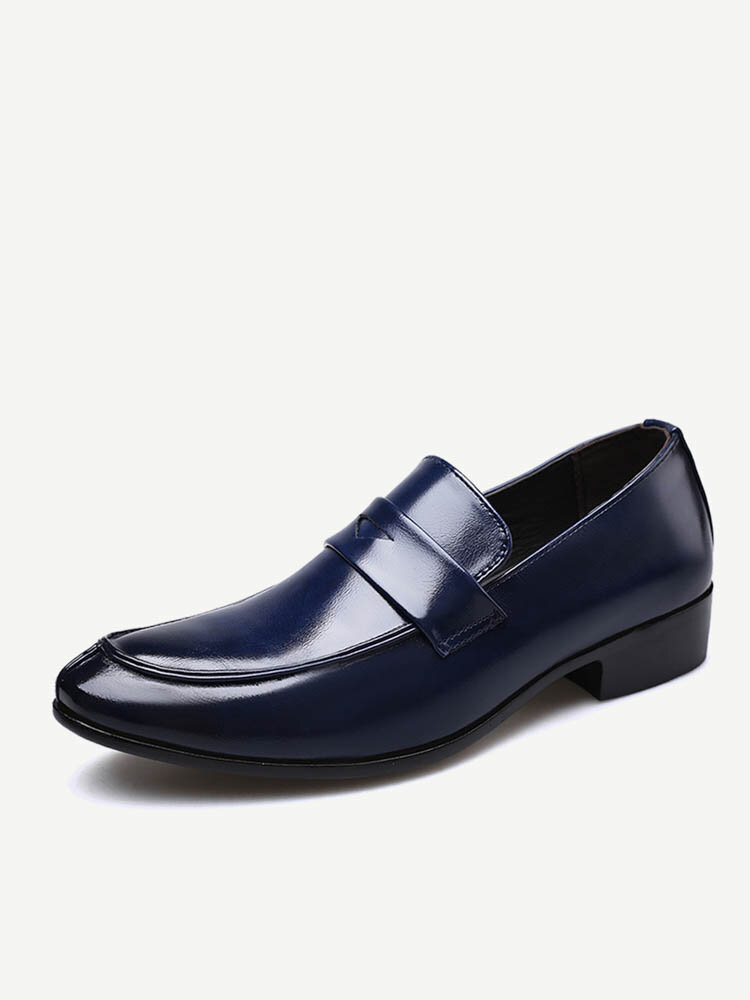 Men Pure Color Leather Non Slip Slip On Casual Formal Shoes
