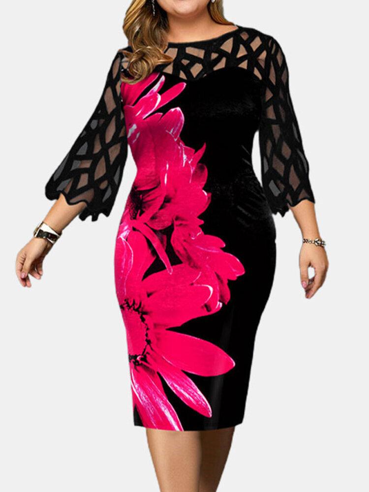 Flower Print Lace Contrast Plus Size Slim Fit Dress