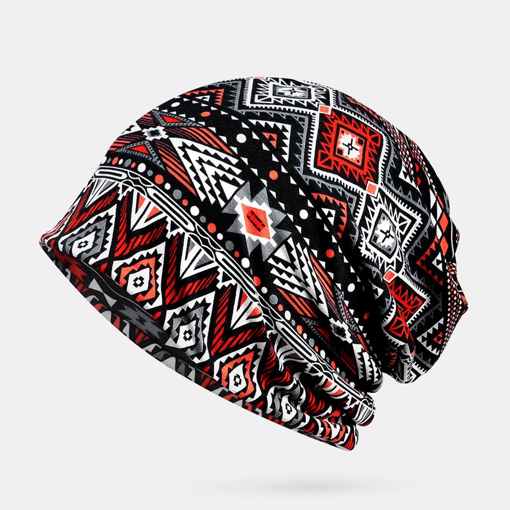 Retro Irregular Pattern Vintage Elastic Ethnic Cotton Beanie Breathable Turban Cap