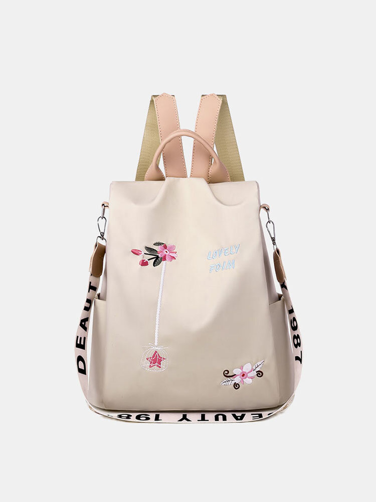 Women Oxford Embroidery Waterproof Ethnic Anti-theft Backpack