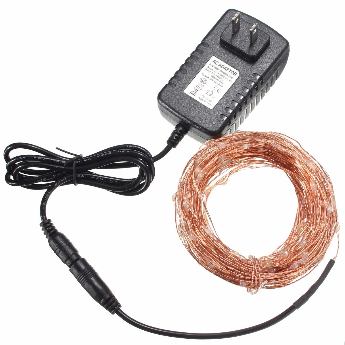 20M IP67 200 LED Copper Wire Fairy String Light for Christmas Party Decor with 12V 2A Adapter