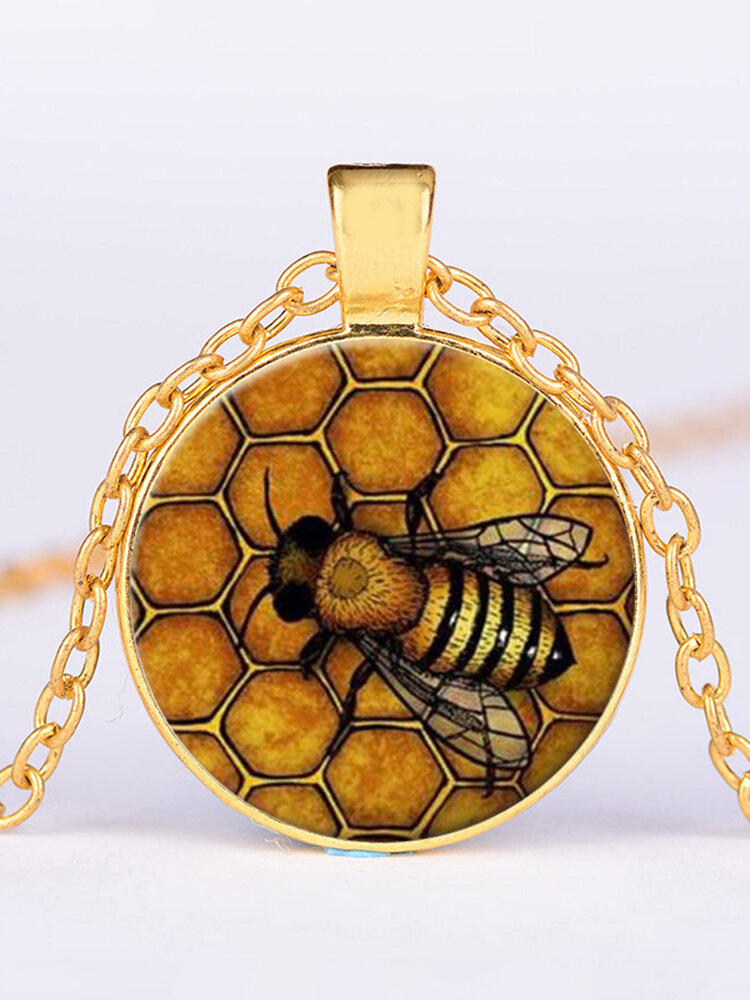 Vintage Honeycomb Bee Women Necklace Alloy Glass Printed Pendant Necklace
