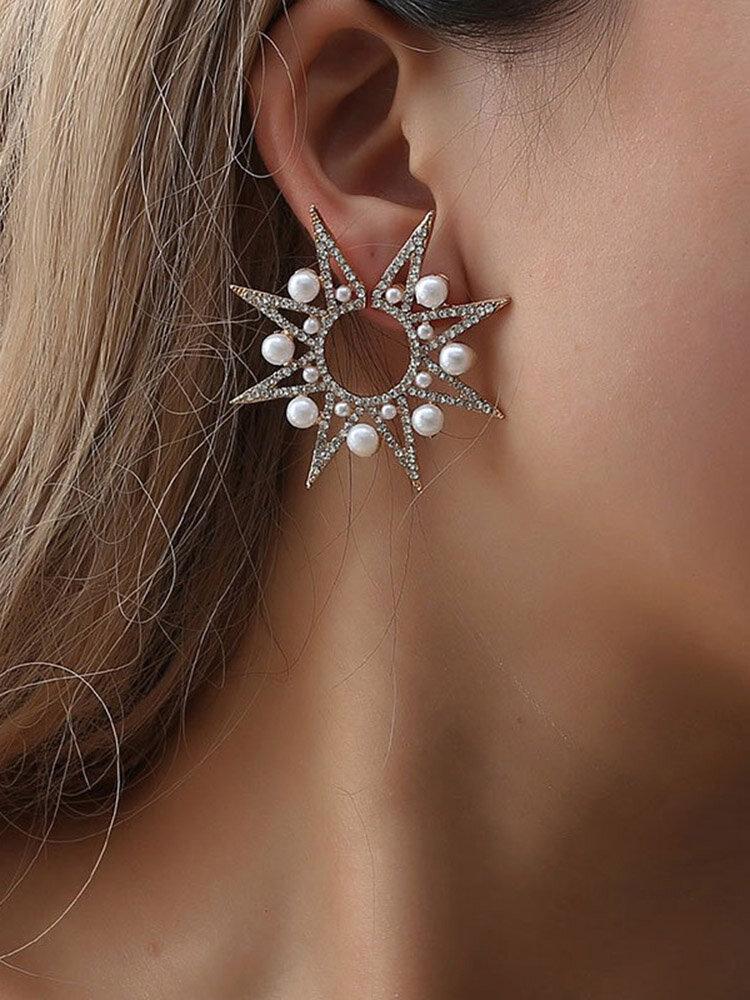 Luxury Pearl Sun Flower Earrings Diamond Stubbed Earrings For Women