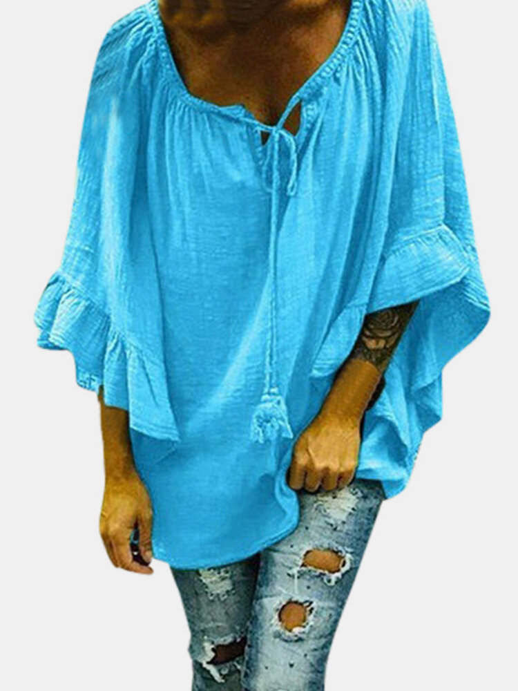 Solid Color Flounces Sleeve Bandage Casual Blouse For Women