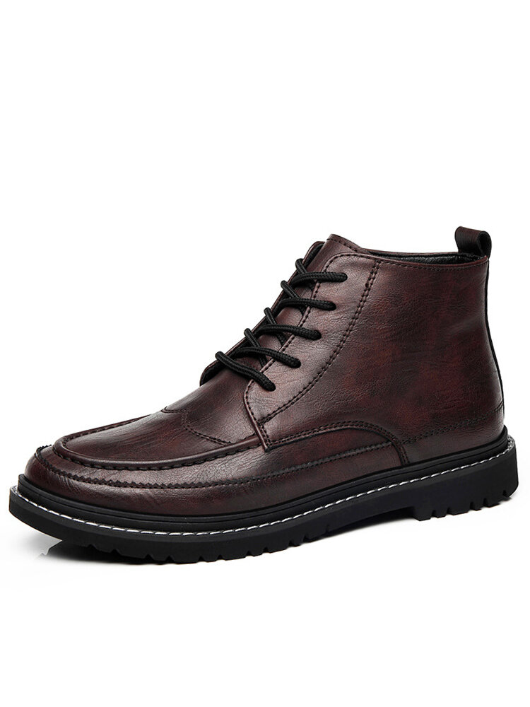 Men British Style Round Toe Lace Up Leather Ankle Boots